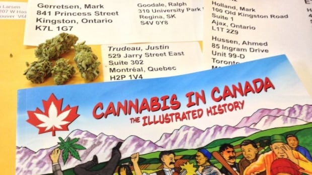 Pot legalization activist Dana Larsen mailed a package to all 184 Liberal MPs containing an gram of marijuana and a copy of his new book. Justin Trudeau's government has pledged to legalize, regulate and restrict access to the drug.