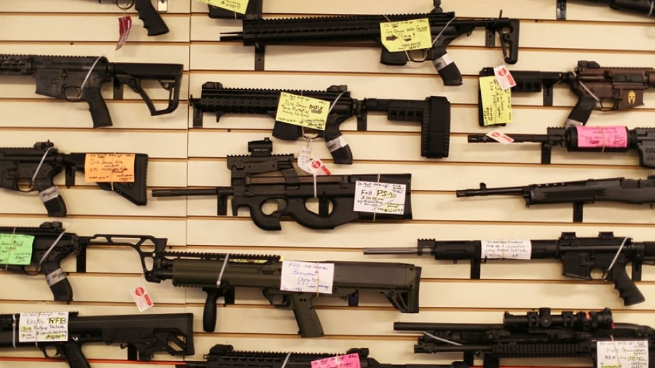 Weapons on display at the K&W Gunworks store in in Delray Beach, Florida