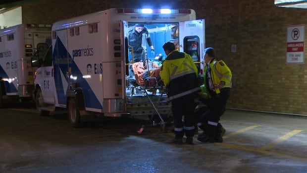 Paramedics rushed a 21-year-old to Sunnybrook Hospital early Thursday morning after he was stabbed in the back near Dufferin Street and St. Clair Avenue West.
