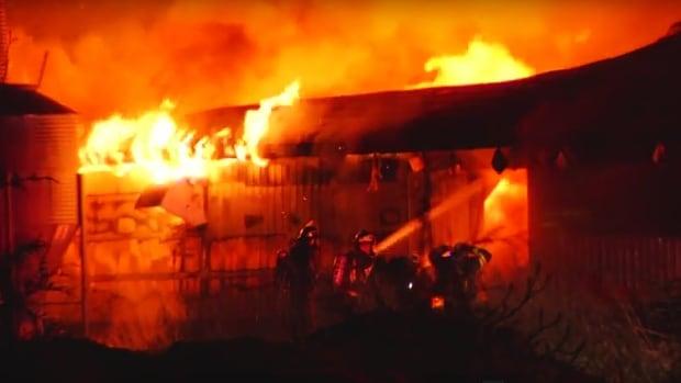The barn, which was once used to raise chicken, was destroyed by the fire.