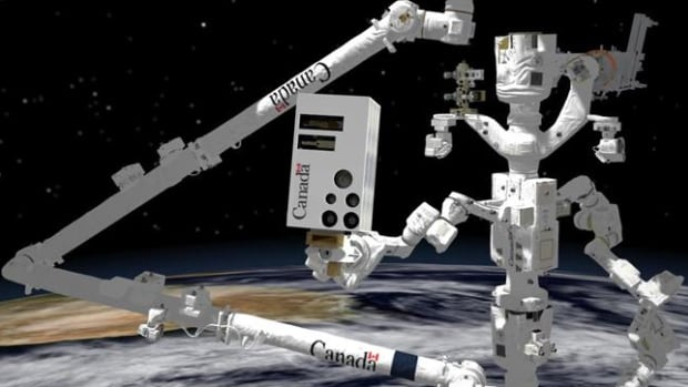 The new visioning system, centre, is mounted on Dextre in this computer-generated image.