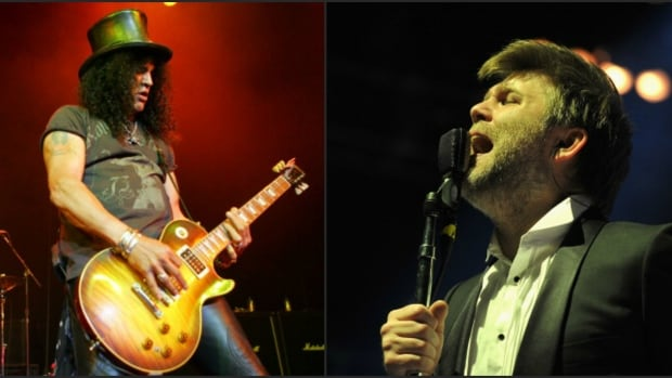 Guitarist Slash (left) will join Axl Rose in the Guns N' Roses lineup to headline for Coachella, and also headlining are LCD Soundsystem, led by singer-songwriter James Murphy (right).