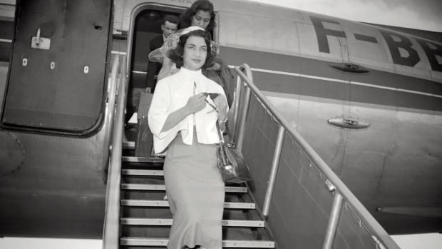 Ashraf Pahlavi is seen upon her arrival in France, in the 1950's.