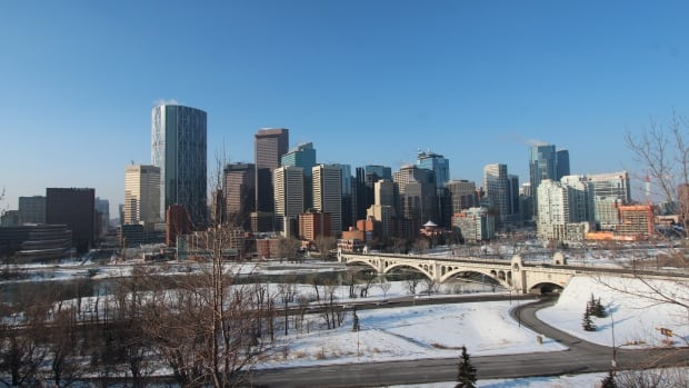 A view of the Calgary skyline from Rotary Park.