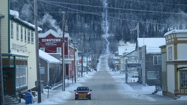 A view of Queen Street in Dawson City.