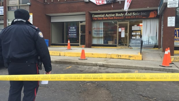 Toronto police say a shooting took place Friday afternoon outside of a barbershop at this Scarborough plaza.