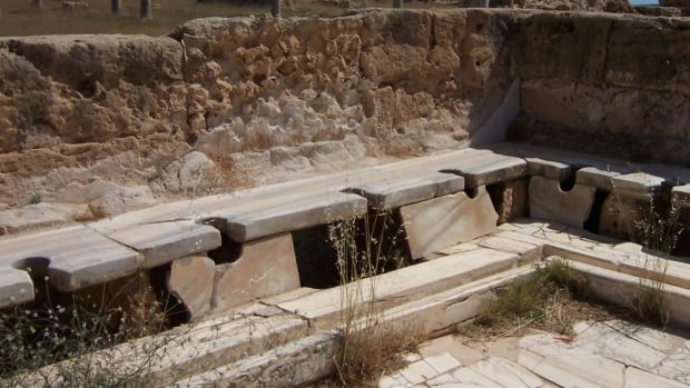 An example of Roman latrines, from the ruins of the great Roman city of Leptis Magna in Libya.
