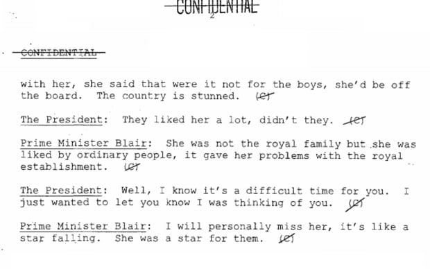 Blair and Clinton talk death of Diana