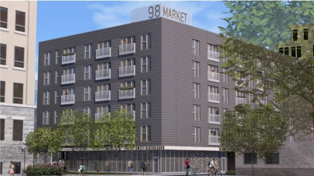 A sketch of 98 Market Ave., an apartment building that will be built in Winnipeg's Exchange District.
