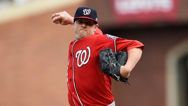 Relief pitcher Drew Storen was acquired by the Toronto Blue Jays on Friday from the Washington Nationals in exchange for outfielder Ben Revere.