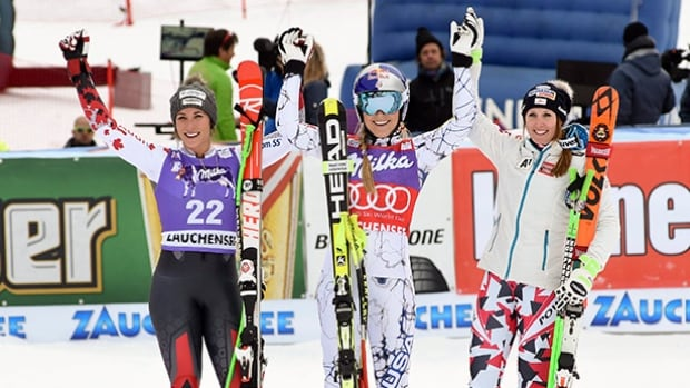 Lindsey Vonn, of the United States, centre, winner of an alpine ski, women's World Cup downhill, celebrates in the finish area with second placed Larisa Yurkiw of Canaa, left, and third placed Austria's Cornelia Huetter, in Altenmarkt Zauchensee, Austria on Saturday.