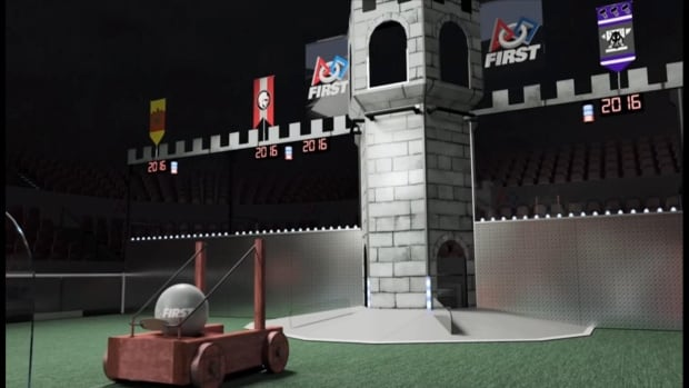 A still from a promotional video of an international robotics competition explains how robots must 'capture' a castle by throwing a boulder at it.