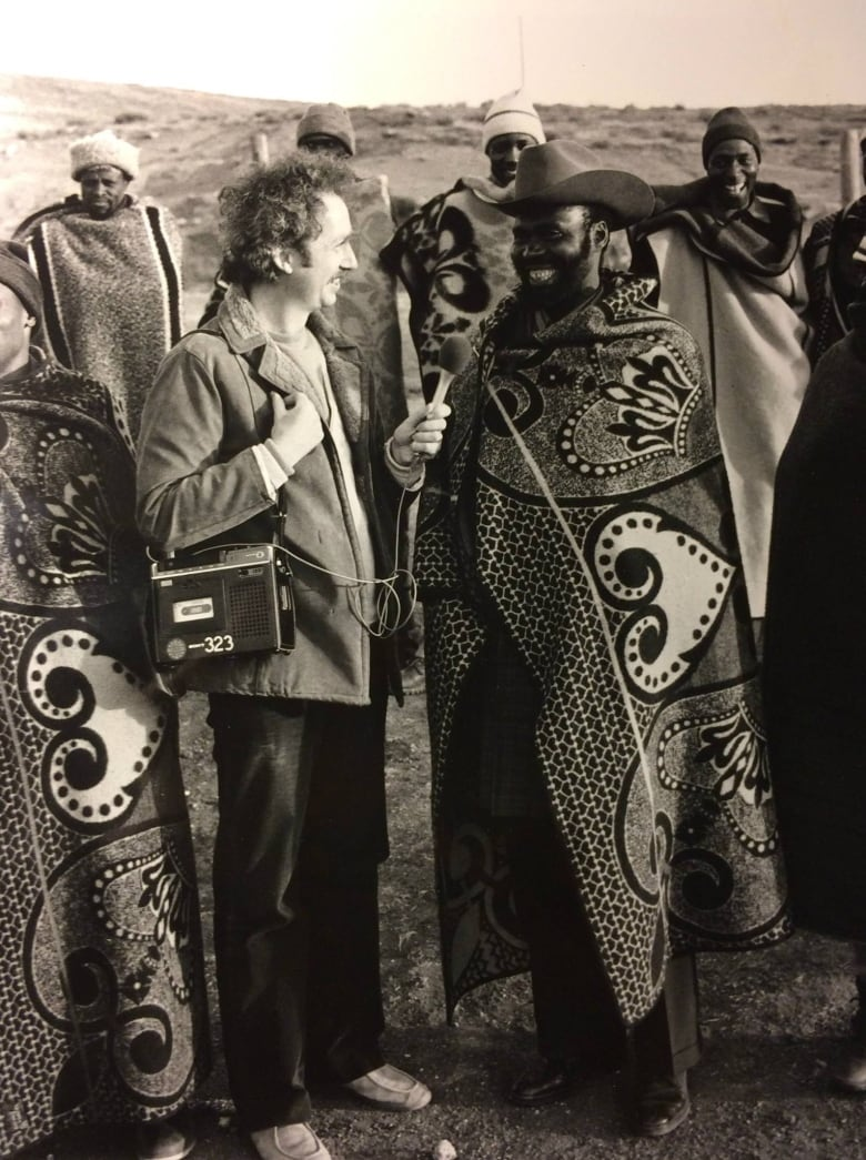 Steve Wadhams interviewing an ox herder in the mountains of Lesotho, 1980. Part of a CBC twenty hour stereo special called Africa Week. (CBC.ca)