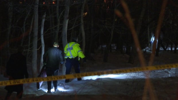 Police work to remove a body found in a wooded area near Pleasant Street in Dartmouth on Saturday.