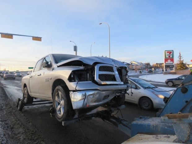 Pickup truck in MVC Sunday afternoon in Calgary