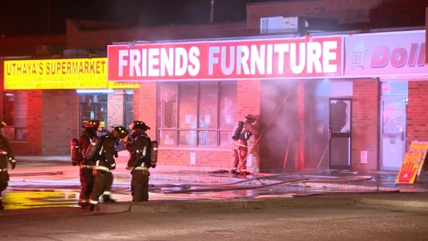 Emergency crews were called to Friends Furniture at 5050 Steeles Avenue West just after 11:30 p.m.