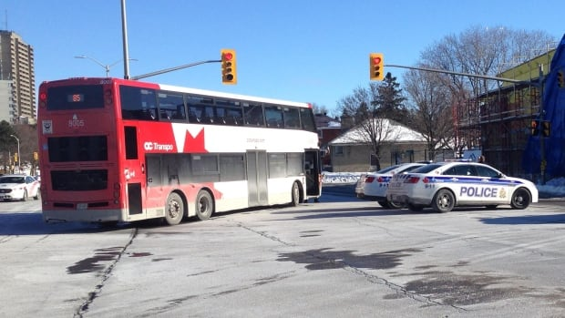 A double-decker OC Transpo bus struck an elderly woman near the Carlingwood Shopping Centre on Monday morning, police say. She later died of her injuries.