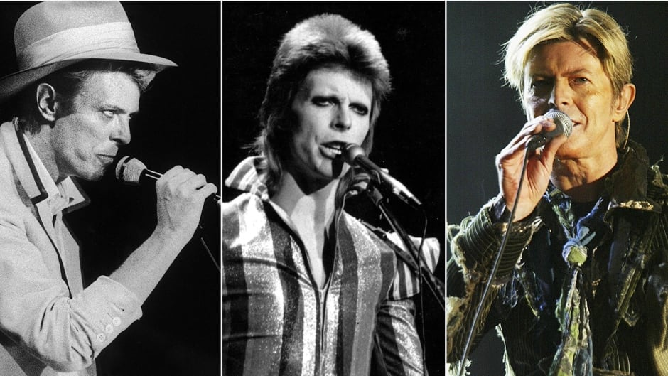From left, David Bowie as the Thin White Duke, Ziggy Stardust and on his final concert tour in 2004.