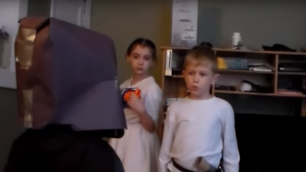 The Rowley siblings staged their own version of Star Wars to announce they are expecting a new sibling.