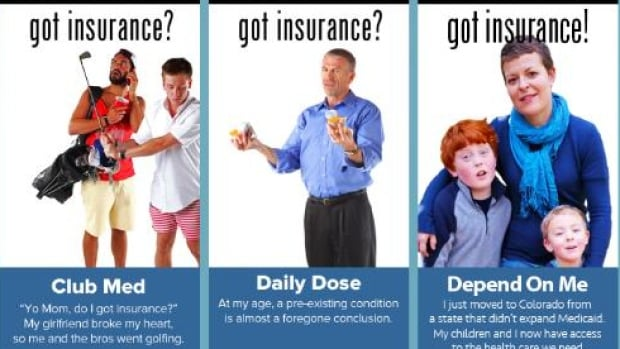 """The 2013 """"Got Insurance?"""" advertising campaign by the Colorado Consumer Health Initiative and ProgressNow Colorado Education aimed to promote the benefits of the American Affordable Care Act."""