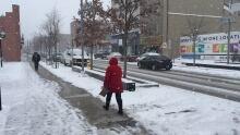 kitchener downtown snowy salted winter sidewalk