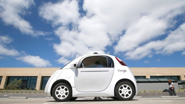 In this May 13, 2015, file photo, Google's new self-driving prototype car is presented during a demonstration at the Google campus in Mountain View, Calif. The self-driving cars needed some old-fashioned human intervention to avoid some crashes during testing on California roads, the company revealed Tuesday.