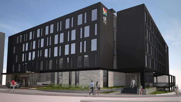 An artist's rendering shows an Alt Hotel planned for Water Street, near the harbour in downtown St. John's.