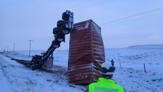 Canadian Nuclear Safety Commission staff were on the scene of the truck crash north of Swift Current, Sask., on Tuesday.