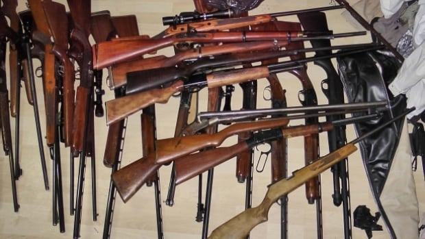 This cache of stolen weapons was seized by Calgary police last year, so they wouldn't be included in totals reported by RCMP.