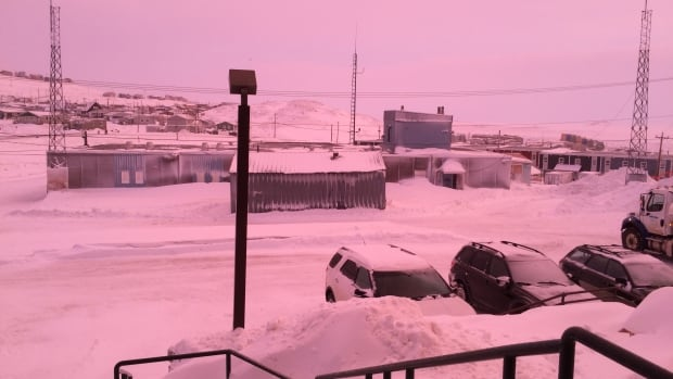 Nick Murray snapped this photo outside of CBC North's Iqaluit office on Tuesday. Numerous other Iqaluit residents commented on the city's red hue, which was likely caused due to light scattering.
