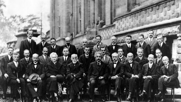 Photo from the famous 1927 Solvay conference. Marie Curie is third from the left in the front row.