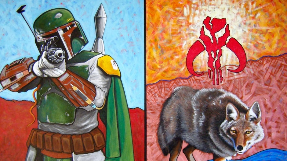 "Bounty Hunter and Trickster Encounter, 24"" x 40"", acrylic on canvas, 2010."