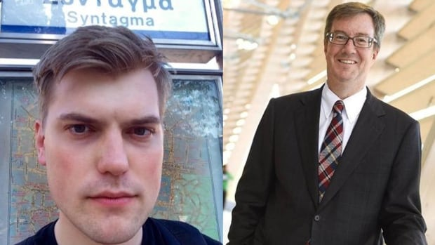 U.K. journalist Jim Waterson (left) has a Twitter handle that starts the same way as Ottawa Mayor Jim Watson (right). Their Twitter profile pictures, however, show differences.