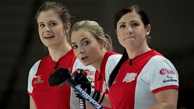 A trio of Team World curlers have a bemused look at the underdogs found themselves with a 5-4 lead over three-time defending champion North America after the first day of competition in Las Vegas.
