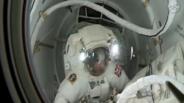 British astronaut Tim Peake leaves the International Space Station to take part in his first spacewalk January 15, 2015. Peake became the first astronaut representing Britain to walk in space when he left the International Space Station (ISS) on Friday to fix a power station problem.