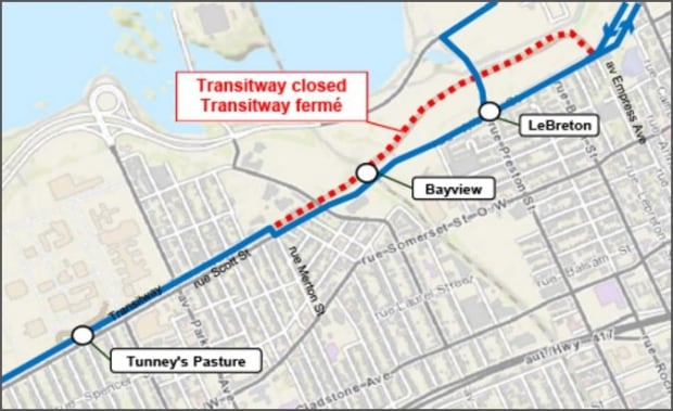 Transitway closure for LRT construction