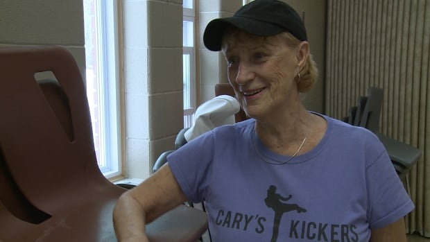 Cary Thomas, 75, is a kick-boxing instructor at the Oakwood Community Centre in Windsor, Ont.
