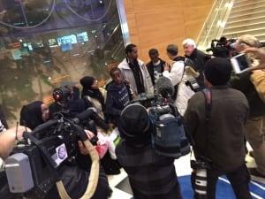 Refugee family arrives