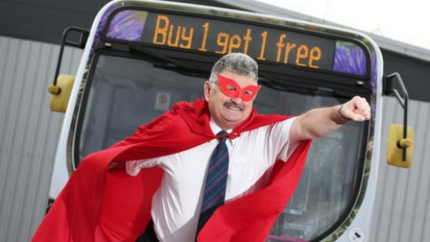"First Aberdeen, a Scottish bus line, has created its very own superhero as part of a Blue Monday promotion. Ian the ""super"" driver ""is helping to bring back the smiles to customer faces by donning fancy dress,"" the company says."