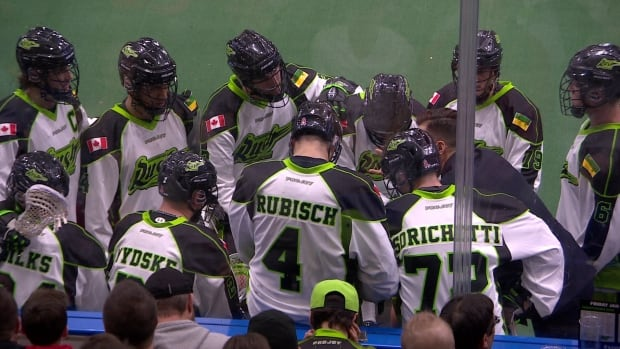 The Saskatchewan Rush takes a time out in mid-game action against the Vancouver Stealth in Saskatoon on Jan. 15, 2015.