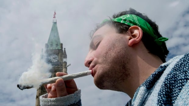 A man is shown smoking a joint at the Fill the Hill marijuana rally on Parliament Hill in Ottawa on Sunday, April 20, 2014.