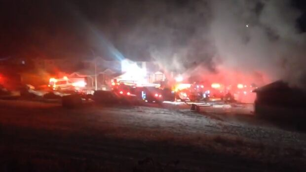 A house fire erupted in the 100 block of Arbour Stone Close N.W. Calgary on Sunday.