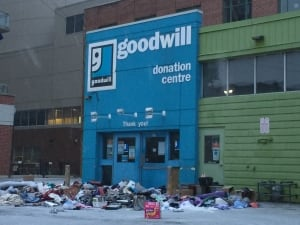 Goodwill donations pile up outside drop off centre