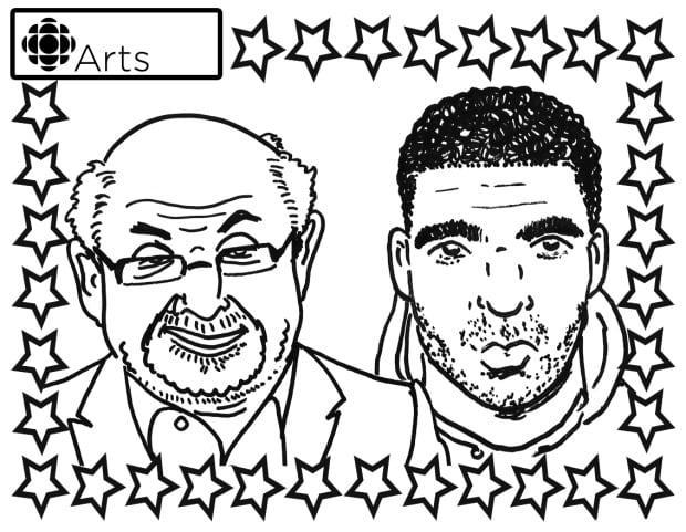 Drake and Salman Rushdie Colouring Page