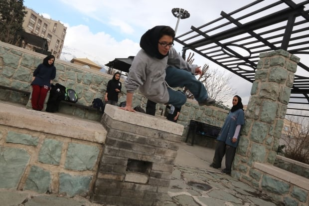 Parkour Iranian woman practice March 2014