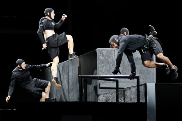 Parkour high fashion Alexander Wang H M show 2014 Oct