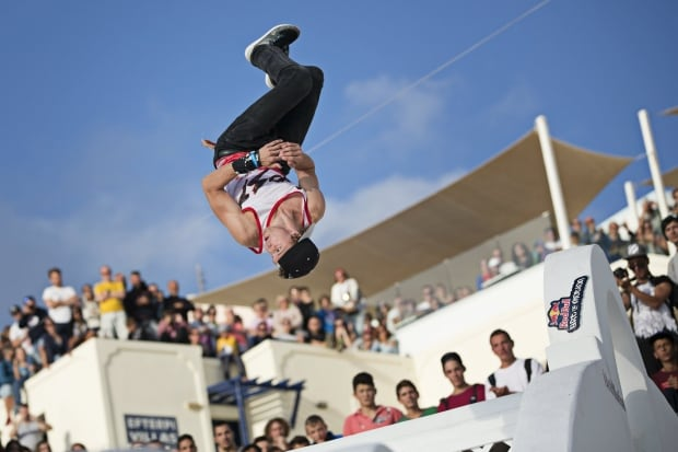 Parkour Santorini Greece Red Bull event Oct 2014