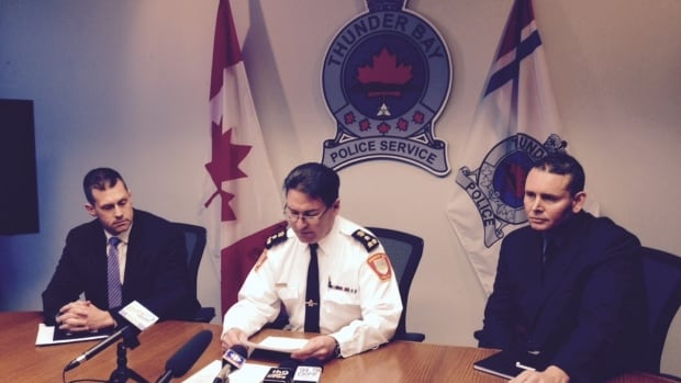 Thunder Bay police Det. Shawn Harrison (left), Chief J.P. Levesque and Det. Dave Tinnes gave more information Monday about the murder investigation into the deaths of Anne Chuchmuch and Wilfred Pott in December, 2015.