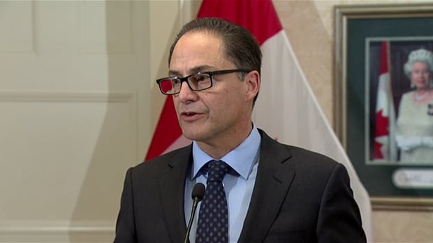 Alberta Finance Minister Joe Ceci takes questions from reporters about the Moody's report released on Monday.