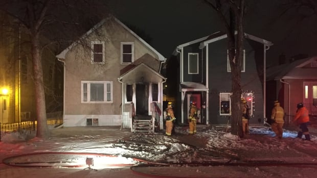 The fire broke out Monday evening on the front porch of a home in the 1700-block of Toronto Street in Regina.
